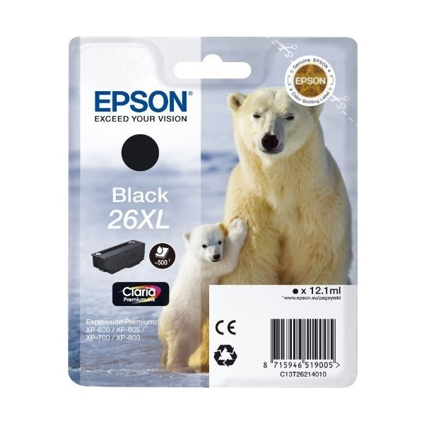 Inkoustová náplň Epson 26XL Claria Premium Black Inkoustová náplň pro Epson Expression Premium XP-600, XP-605, XP-700, XP-800, 12,1 ml, černá C13T26214010
