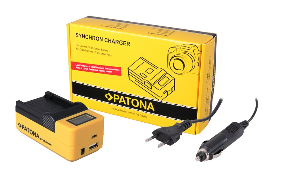 Nabíječka PATONA foto Synchron Olympus LI-10B/DB-L Nabíječka, pro fotoaparát, Synchron Olympus LI-10B/DB-L10A, 230V/12V, LCD+USB PT4517