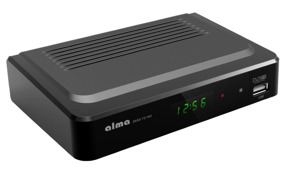 Set-top box ALMA 2650 T2 HD Set-top box, DVB-T2 přijímač, Full HD, MPEG2, MPEG4, HDMI, USB, SCART DBTALH1122