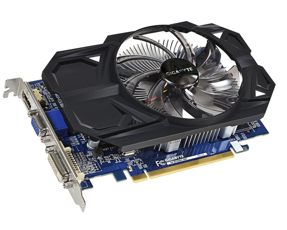 Grafická karta GIGABYTE AMD Radeon R7 250 Grafická karta, PCI-E, 2GB DDR3, HDMI, DVI, D-SUB, active Overclock GV-R725OC-2GI Rev 5.