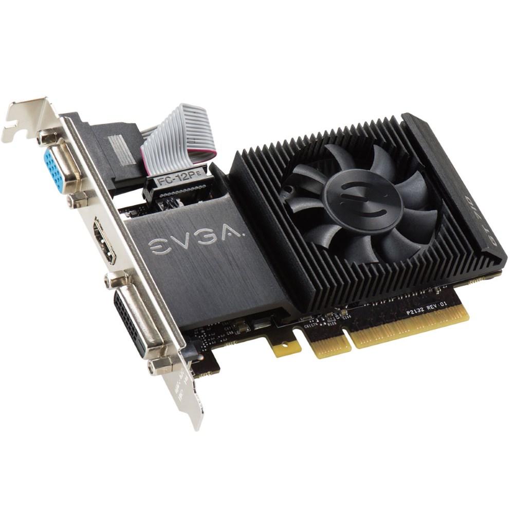 Grafická karta EVGA GeForce GT 710 1GB Grafická karta, PCI-E, 1024MB DDR3, DVI, HDMI, VGA, low-profile, active 01G-P3-2711-KR