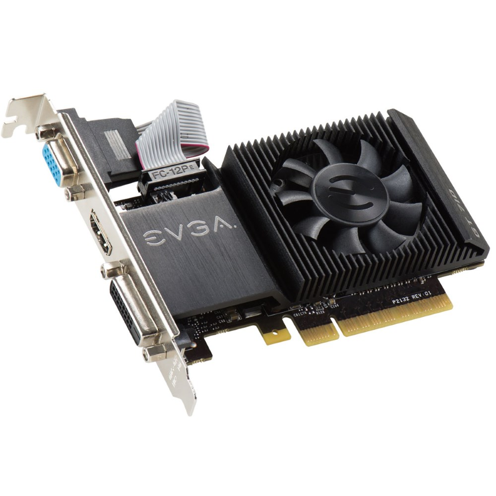 Grafická karta EVGA GeForce GT 710 2GB Grafická karta, PCI-E, 2048MB DDR3, DVI, HDMI, VGA, low-profile, active 02G-P3-2713-KR