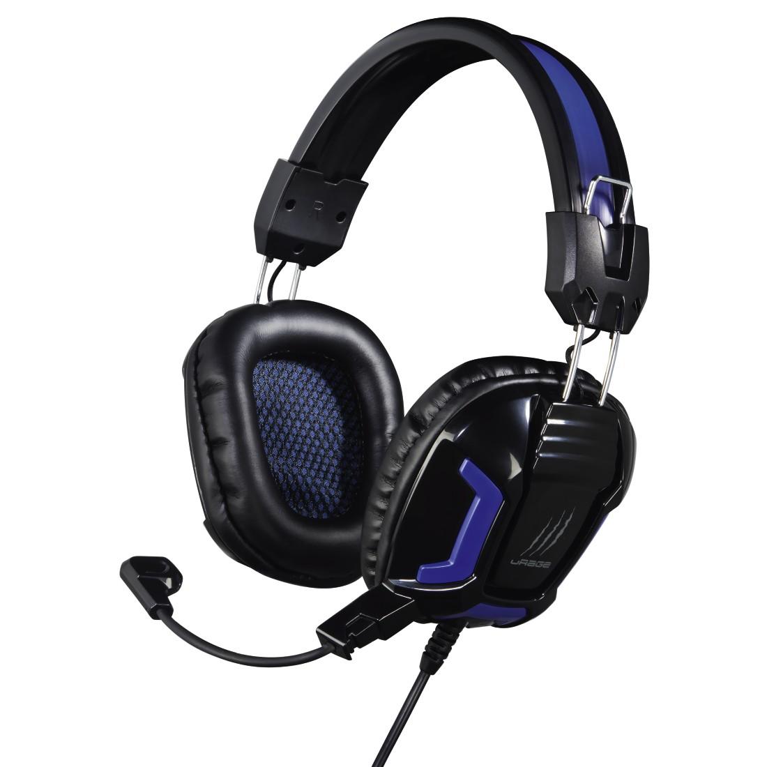 Headset HAMA uRage SoundZ Essential Headset, herní, drátový, jack 3.5mm, černo-modrý 113744