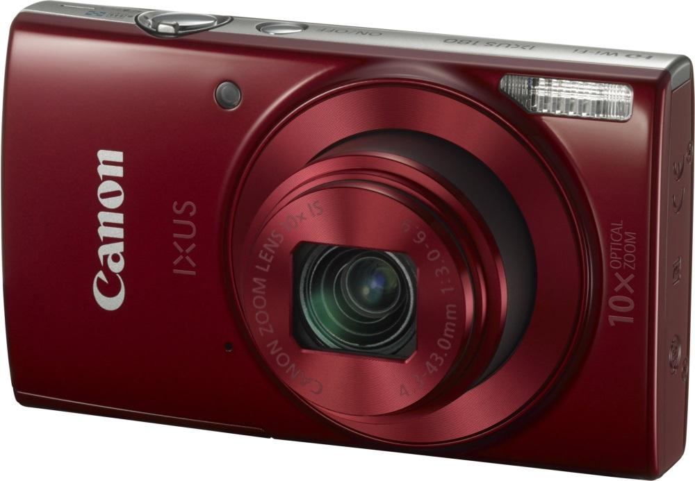 Digitální fotoaparát Canon IXUS 180 červený Digitální fotoaparát, kompaktní, 20 MPix, 10 x zoom, 2,7 LCD, HD video, inteligentní IS, červený 1088C001AA