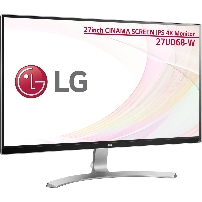 LED monitor LG 27UD68-W 27 LED monitor, IPS, 4k, 3840x2160, 300cdi, 5M:1, 5ms, 2x HDMI, DP, bílá 27UD68-W.AEU