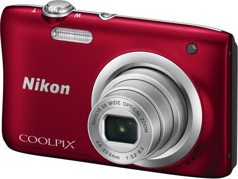 Digitální fotoaparát Nikon Coolpix A100 červený Digitální fotoaparát, 20,1 MPix, 5x zoom, červený VNA972E1