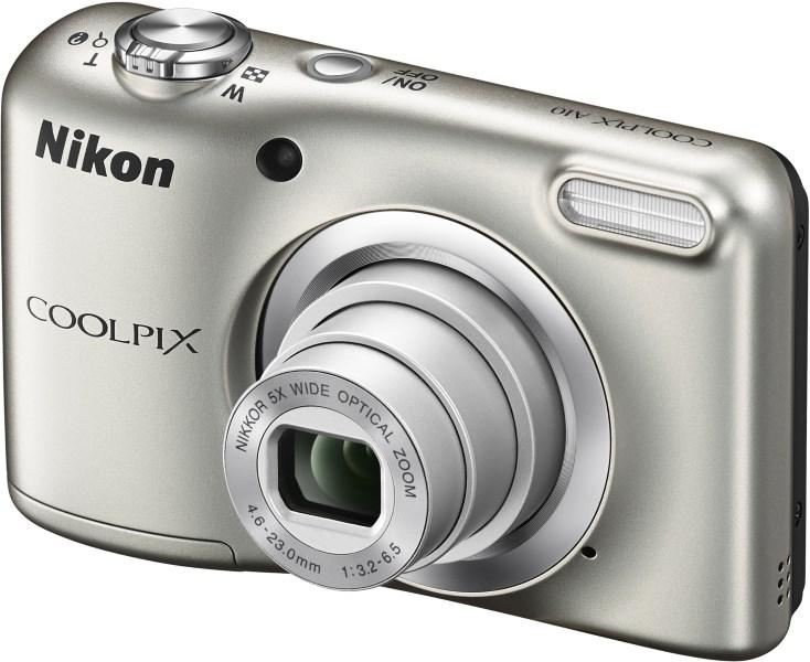 Digitální fotoaparát Nikon Coolpix A10 stříbrný Digitální fotoaparát, 16,1 MPix, 5x zoom, stříbrný VNA980E1