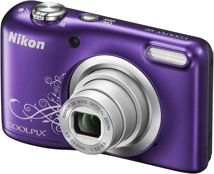 Digitální fotoaparát Nikon Coolpix A10 fialový Digitální fotoaparát, 16,1 MPix, 5x zoom, fialový VNA983E1