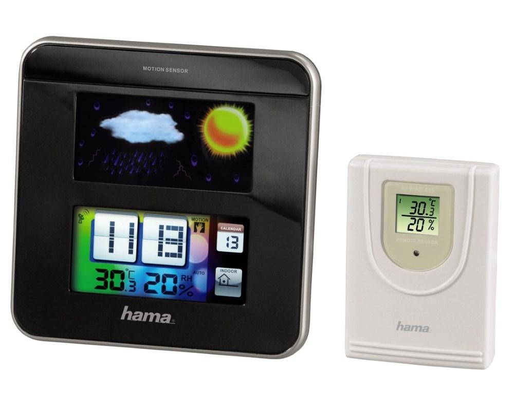 Meteostanice HAMA Color EWS-1200 černá Meteostanice, LCD displej, zobrazení vnitřní a venkovní teploty, černá 113964