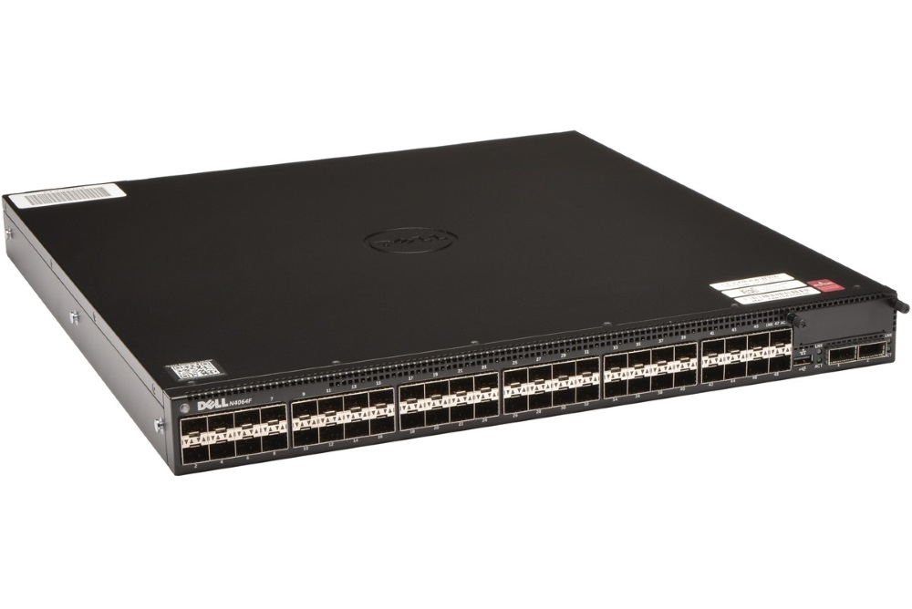 Switch DELL Networking N4064F Switch, gigabit, 48x 10 GbE SFP+, 2x 40 GbE QSFP+, 1x Hot Swap, 2x zdroj, management, NBD on-site 210-ABVW