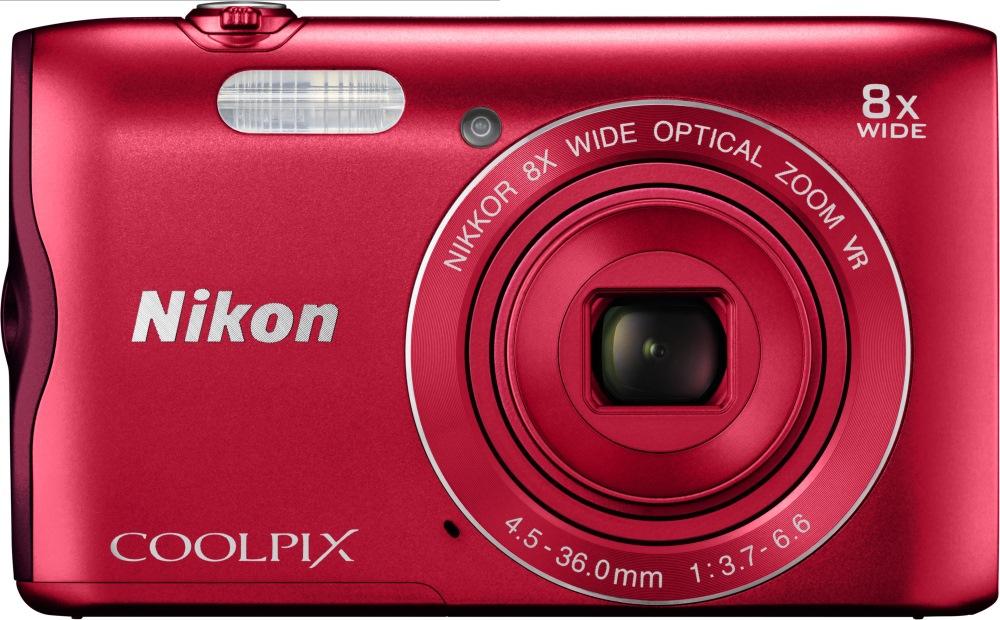 Digitální fotoaparát NIKON Coolpix A300 červený Digitální fotoaparát, kompaktní, 20,1 MPix, 8x zoom, 2,7 LCD, červený VNA963E1