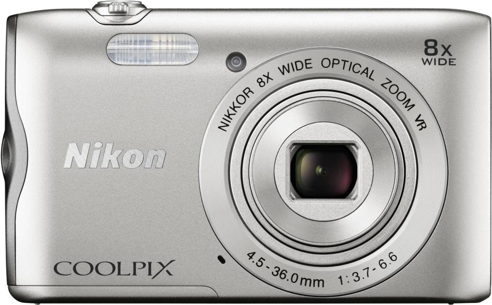 Digitální fotoaparát NIKON Coolpix A300 stříbrný Digitální fotoaparát, kompaktní, 20,1 MPix, 8x zoom, 2,7 LCD, stříbrný VNA960E1