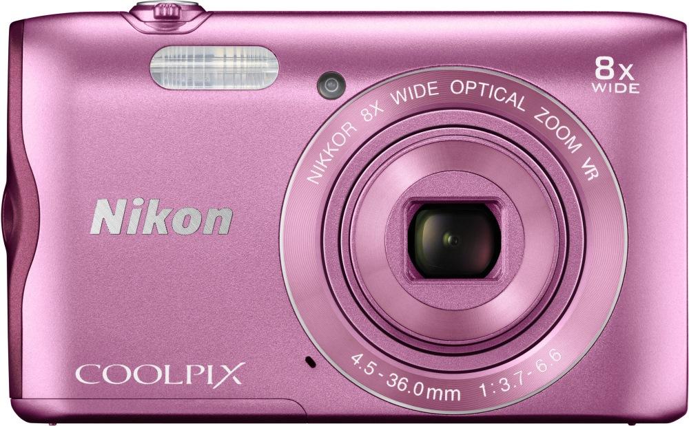 Digitální fotoaparát NIKON Coolpix A300 růžový Digitální fotoaparát, kompaktní, 20,1 MPix, 8x zoom, 2,7 LCD, růžový VNA962E1