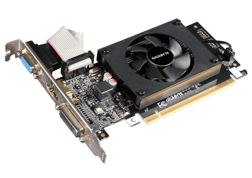 Grafická karta GIGABYTE nVIDIA GT710 1GB Grafická karta, PCI-E, 1GB DDR3, HDMI, DVI, active GV-N710D3-1GL