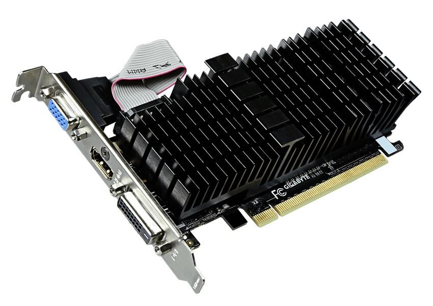 Grafická karta GIGABYTE nVIDIA GT710 2GB Grafická karta, PCI-E, 2GB DDR3, HDMI, DVI, passive GV-N710SL-2GL
