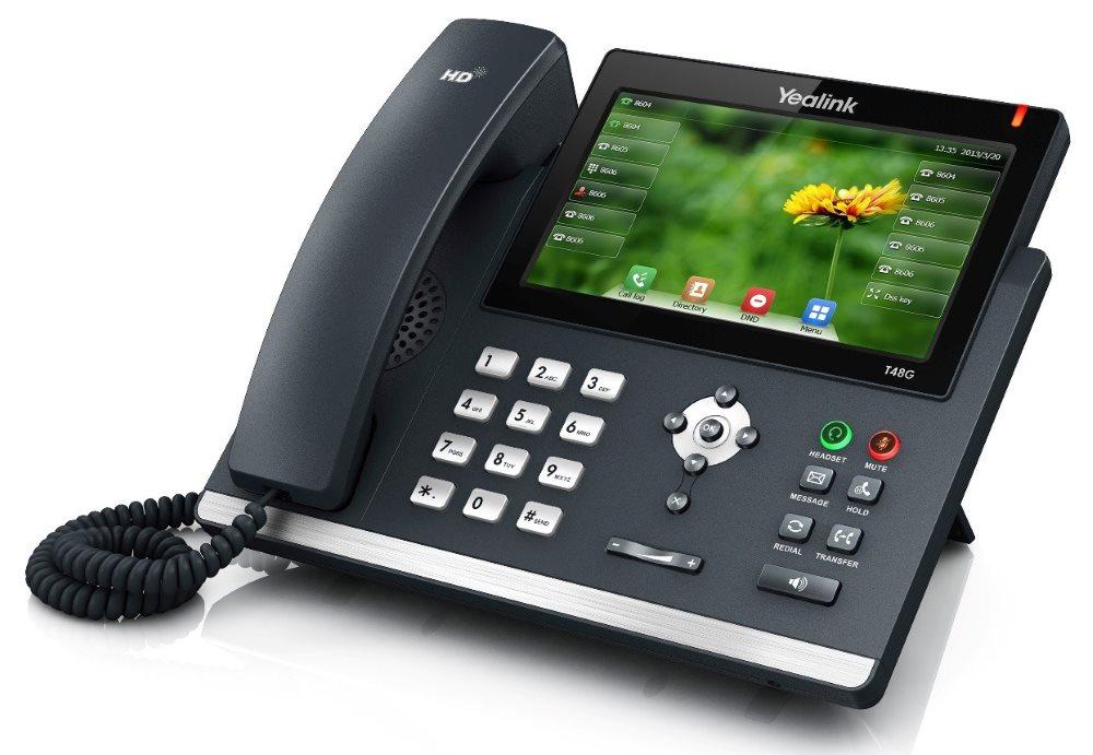 IP telefon Yealink SIP-T48G IP telefon, 6 x SIP, 7 bar. CZ-SK displej, 2 x 10/100/1000, QoS, 29 prog. tl., PoE napájení, bez adaptéru 310A789