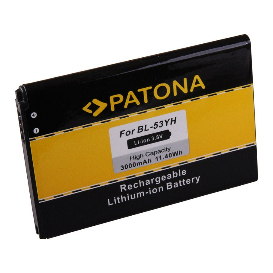 Baterie PATONA kompatibilní s LG BL-53YH Baterie, pro mobilní telefon LG D855, LG F400, LG G3, nahrazuje BL-53YH, 3000 mAh, 3.8 V, Li-Ion PT3149