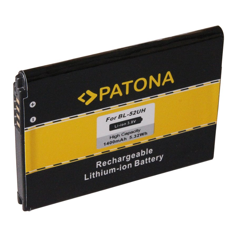 Baterie PATONA kompatibilní s LG BL-52UH Baterie, pro mobilní telefon LG Optimus D280, LG Optimus D320, LG Optimus L65, LG Optimus L70, nahrazuje BL-52UH, 1400 mAh, 3.8V, Li-Ion PT3150