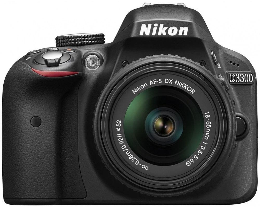Digitální zrcadlovka NIKON D3300 + AF-S DX II Digitální zrcadlovka, CMOS snímač, USB, mini HDMI, slot pro paměťové karty, černá VBA390K002