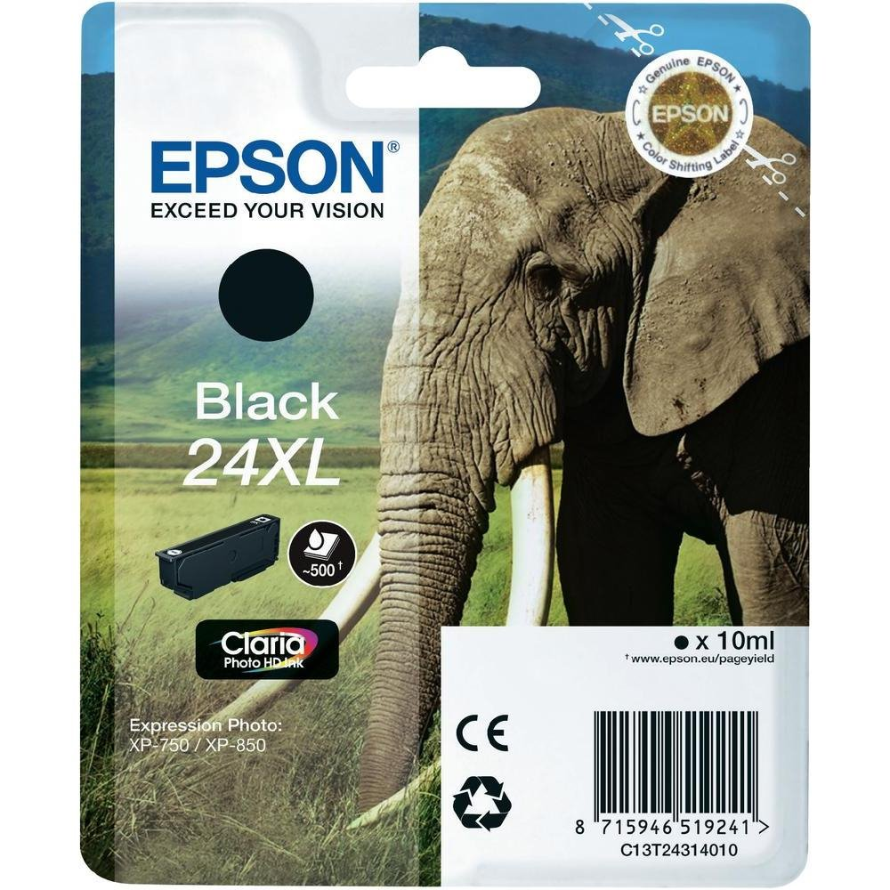 Inkoustová náplň Epson C13T24314010 černá Inkoustová náplň, XL, originální, pro Epson Expression Photo XP-750, XP-760, XP-850, XP-860, XP-950, XP-960, XP 55, 10 ml, černá C13T24314010
