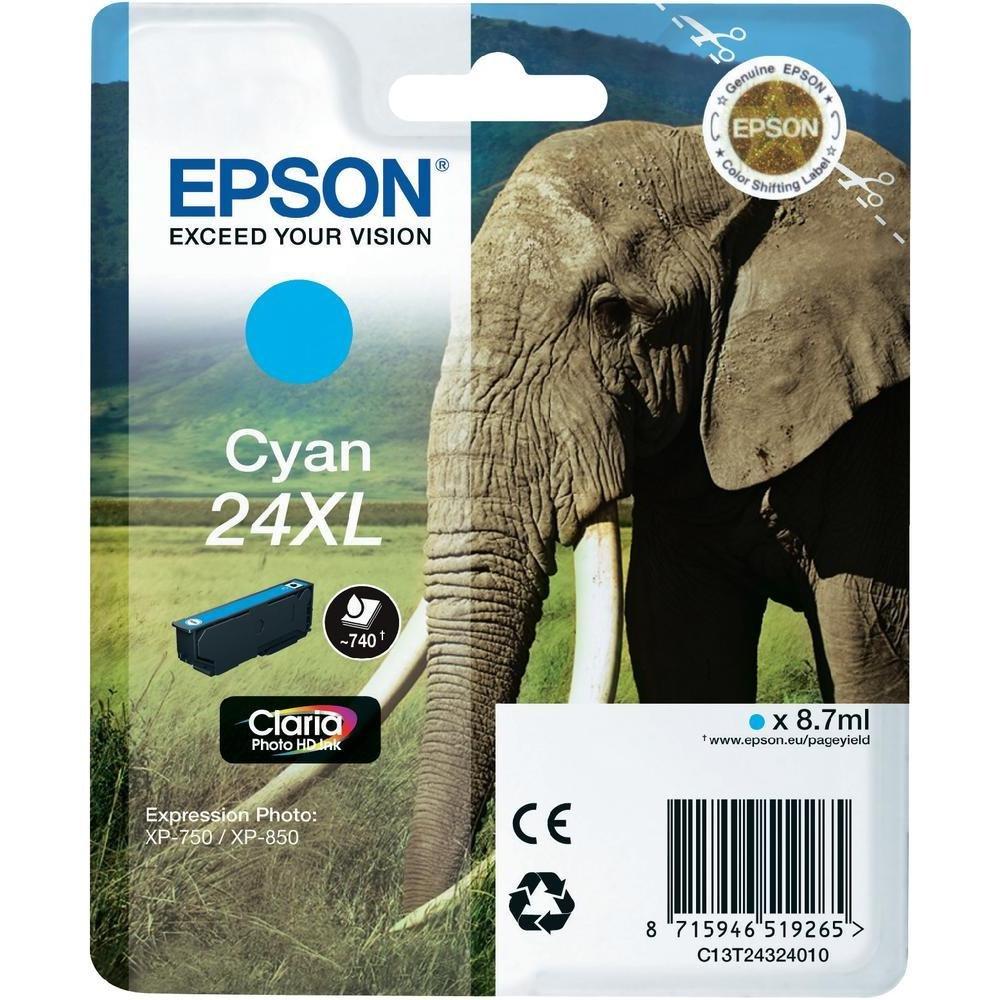 Inkoustová náplň Epson C13T24324010 modrá Inkoustová náplň, XL, originální, pro Epson Expression Photo XP-750, XP-760, XP-850, XP-860, XP-950, XP-960, XP 55, 8,7 ml, modrá C13T24324010
