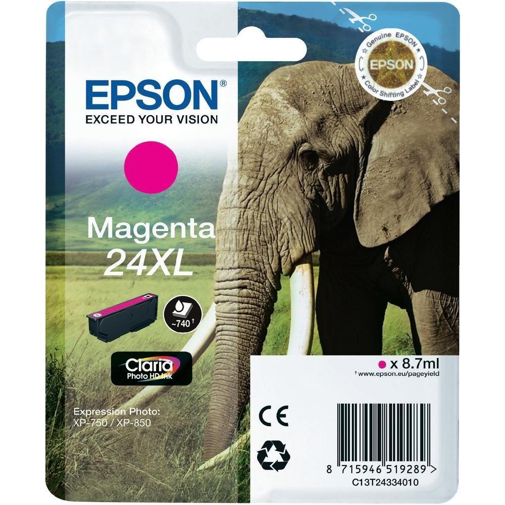 Inkoustová náplň Epson C13T24334010 purpurová Inkoustová náplň, XL, originální, pro Epson Expression Photo XP-750, XP-760, XP-850, XP-860, XP-950, XP-960, XP 55, 8,7 ml, purpurová C13T24334010