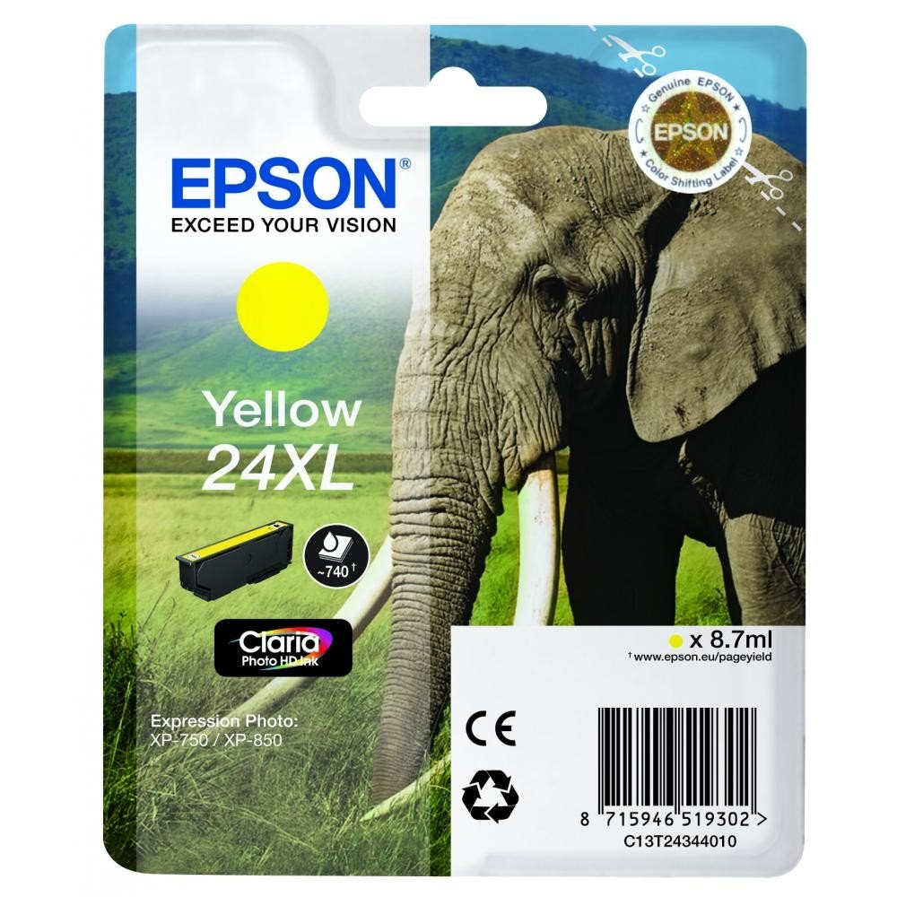 Inkoustová náplň Epson C13T24344010 žlutá Inkoustová náplň, XL, originální, pro Epson Expression Photo XP-750, XP-760, XP-850, XP-860, XP-950, XP-960, XP 55, 8,7 ml, žlutá C13T24344010
