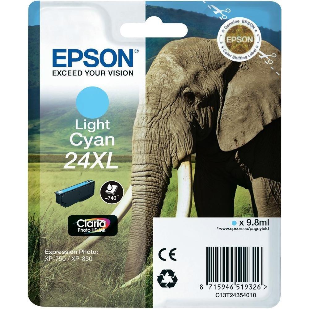 Inkoustová náplň Epson C13T24354010 sv. modrá Inkoustová náplň, XL, originální, pro Epson Expression Photo XP-750, XP-760, XP-850, XP-860, XP-950, XP-960, XP 55, 9,8 ml, světlá modrá C13T24354010