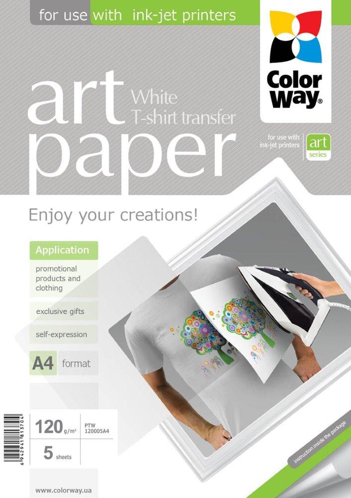 Nažehlovací papír COLORWAY Art Paper 5 ks Nažehlovací papír, na světlý textil, 120 g/m2, A4, 5 ks PTW120005A4