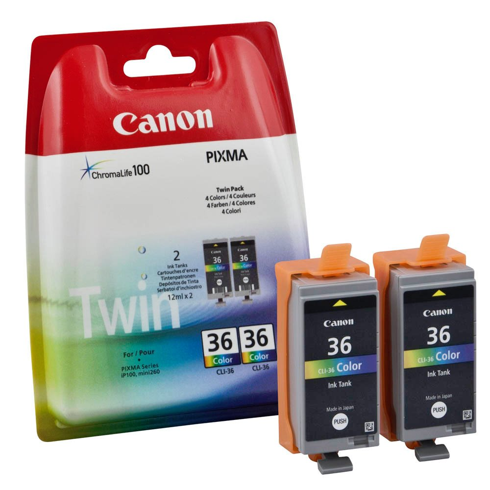 Inkoustová náplň Canon CLI-36 2ks CMY Inkoustová náplň, originální, pro Canon Pixma iP100, iP110, Mini260, Mini320, balení 2ks, CMY 1511B018