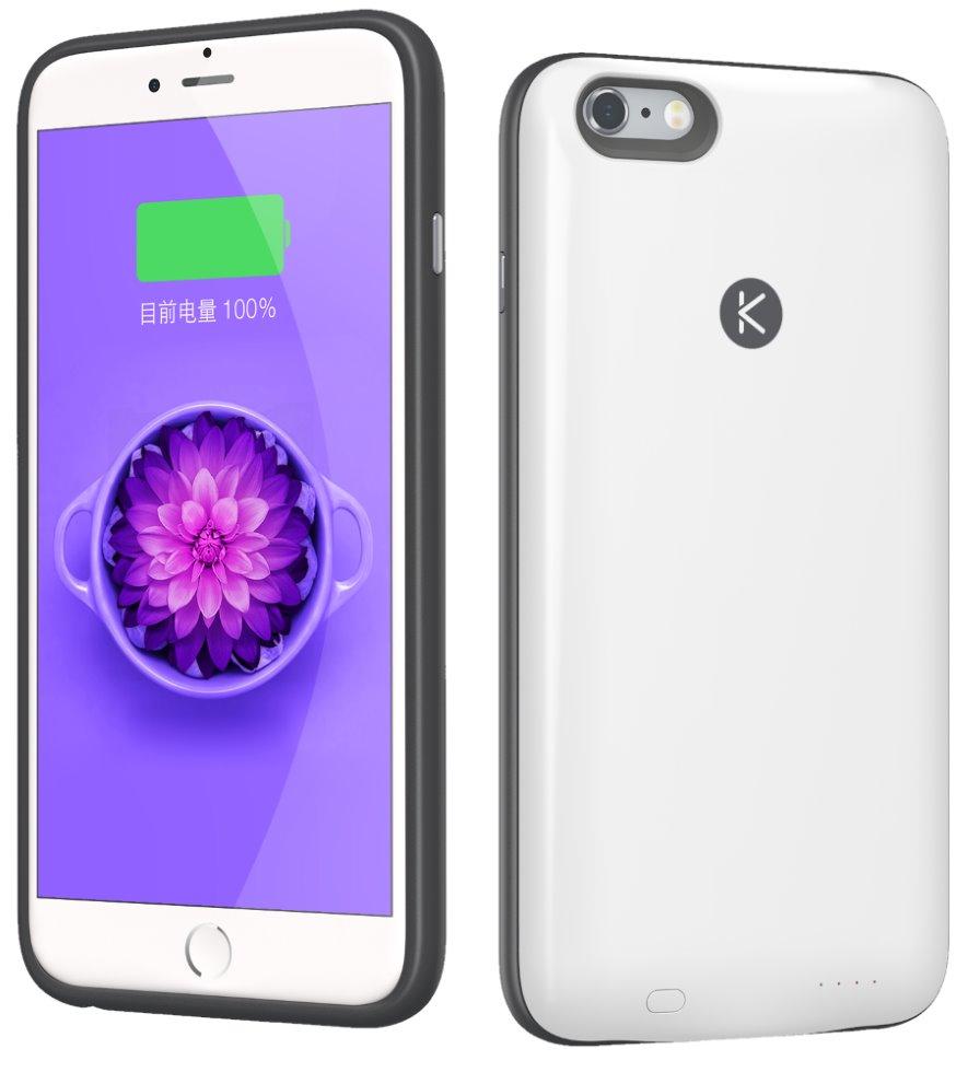 Pouzdro Kuke pro iPhone 6 plus/6s plus 64 GB Pouzdro, pro mobilní telefon, s akumulátorem 2400 mAh a pamětí 64 GB, pro iPhone 6 plus/6s plus, bílé AC154