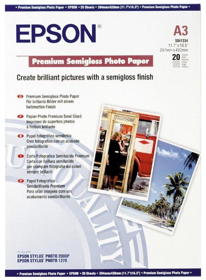 Fotopapír EPSON Premium Semigloss Photo Paper 20ks Fotopapír, A3, Premium Semigloss Photo Paper, 20ks C13S041334