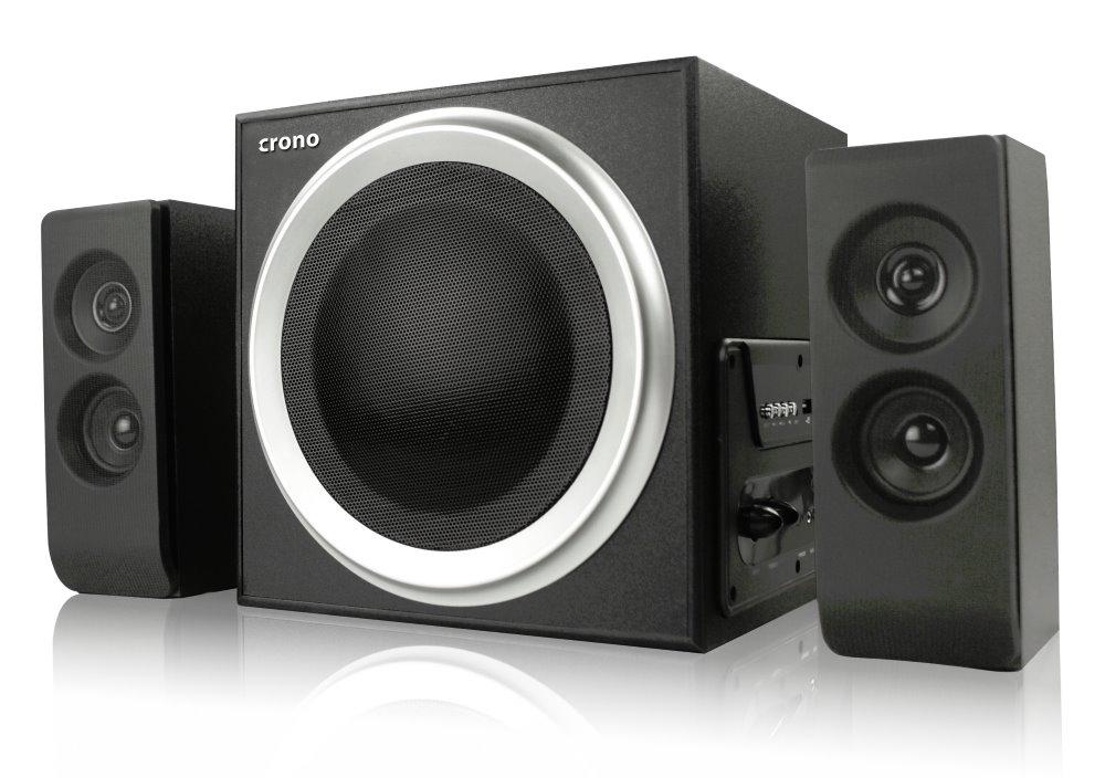 Reproduktory CRONO CS-2104X Reproduktory, 2.1, 2 x 15 W + subwoofer 30 W, 2 x Cinch, Bluetooth, USB, čtečka paměťových karet, DO, černé CS-2104X
