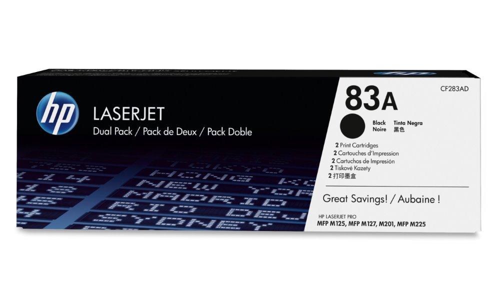 Toner HP 83A CF283AD černý Toner, originál, pro HP LaserJet Pro M125a, M127fn, M127fw, M201n, M201dw, M225dn, M225dw, černý, 2 x 1500 stran CF283AD