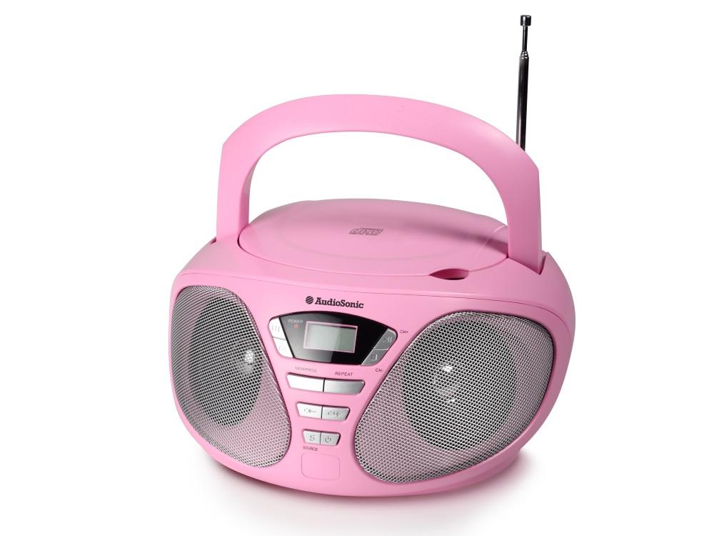Rádio TOPCOM AudioSonic CD-1567 Rádio, stereo, s CD přehrávačem, růžové CD-1567