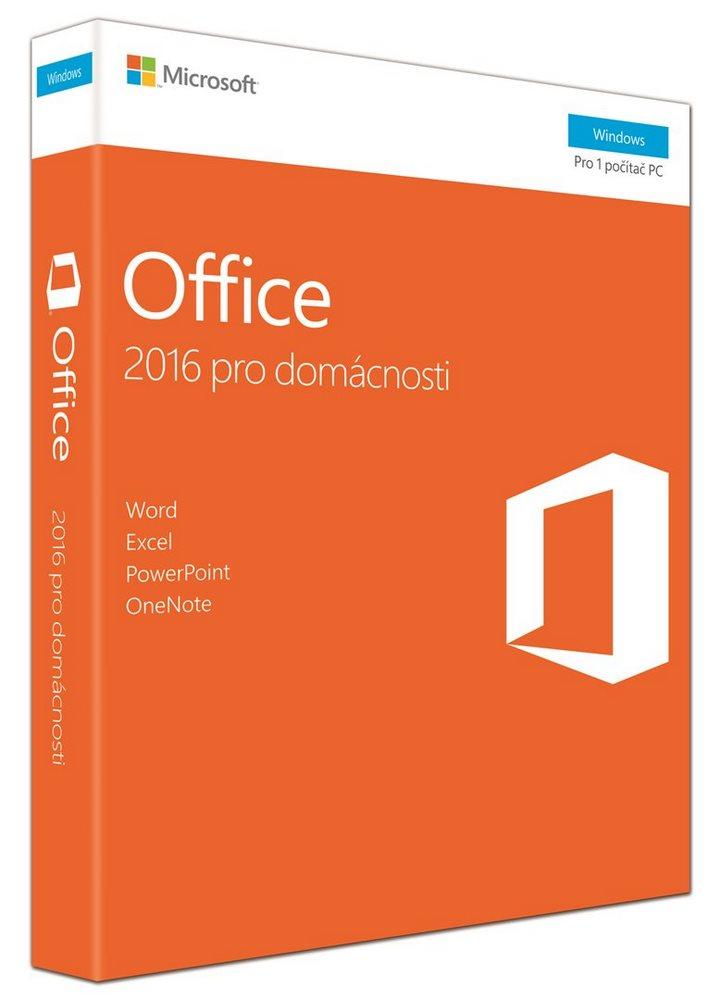 Kancelářský software MS Office pro domácnosti 2016 Kancelářský software, 32/64 bit Czech Eurozone Medialess - i pro starší HW 79G-04723