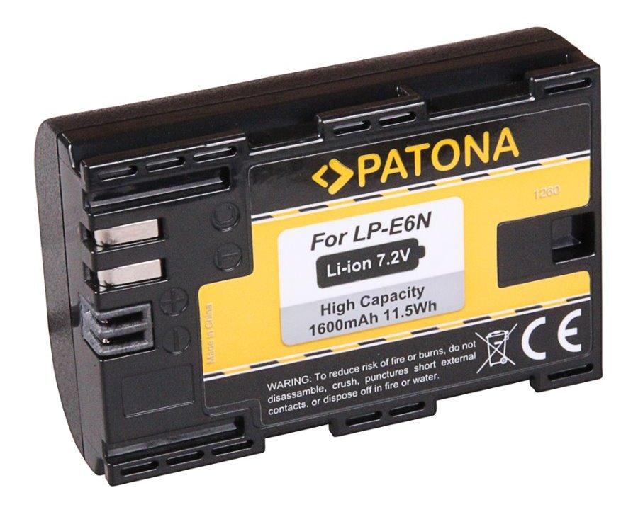 Baterie PATONA kompatibilní s Canon LP-E6 Baterie, pro fotoaparát, kompatibilní s Canon LP-E6, 1600 mAh, Li-Ion PT1260