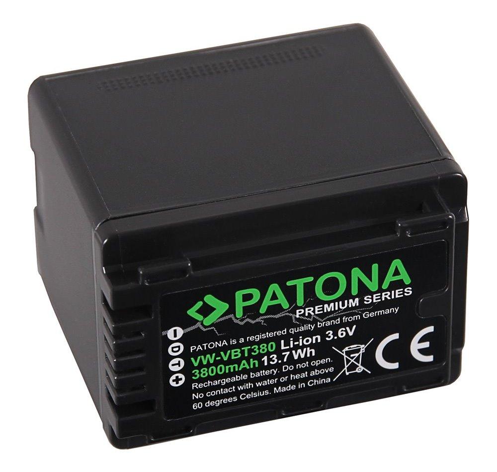 Baterie PATONA kompatibilní s Panasonic VW-VBT380 Baterie, pro videokameru, kompatibilní s Panasonic VW-VBT380, 4040 mAh, Li-Ion, premium PT1257