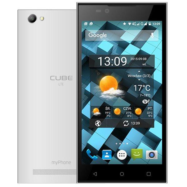 Mobilní telefon myPhone CUBE LTE bílý Mobilní telefon, 5, Dual SIM, 8 GB, 1 GB RAM, Andriod 5.1, bílý TELMYACUBELTEWH