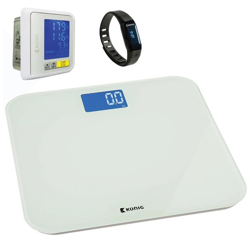 Fitness náramek KÖNIG KN-ACTBL10B set 2 Fitness náramek, Bluetooth, + osobní váha + měřič krevního tlaku na zápěstí HEALTHPROMO2