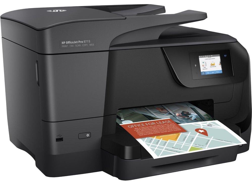 Multifunkční tiskárna HP OfficeJet Pro 8715 Barevná multifunkční inkoustová tiskárna, A4, 22/18 ppm, print+scan+copy+fax, 1200x4800, LCD, USB, LAN, Wi-Fi, ADF, Duplex, černá J6X76A