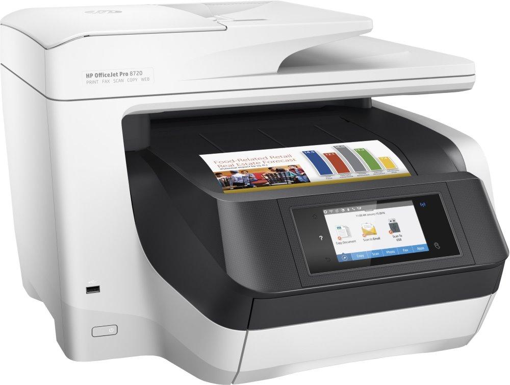Multifunkční tiskárna HP OfficeJet Pro 8720 Barevná multifunkční inkoustová tiskárna, A4, 24/20 ppm, print+scan+copy+fax, 1200x4800, LCD, USB, LAN, Wi-Fi, ADF, Duplex, černobílá D9L19A