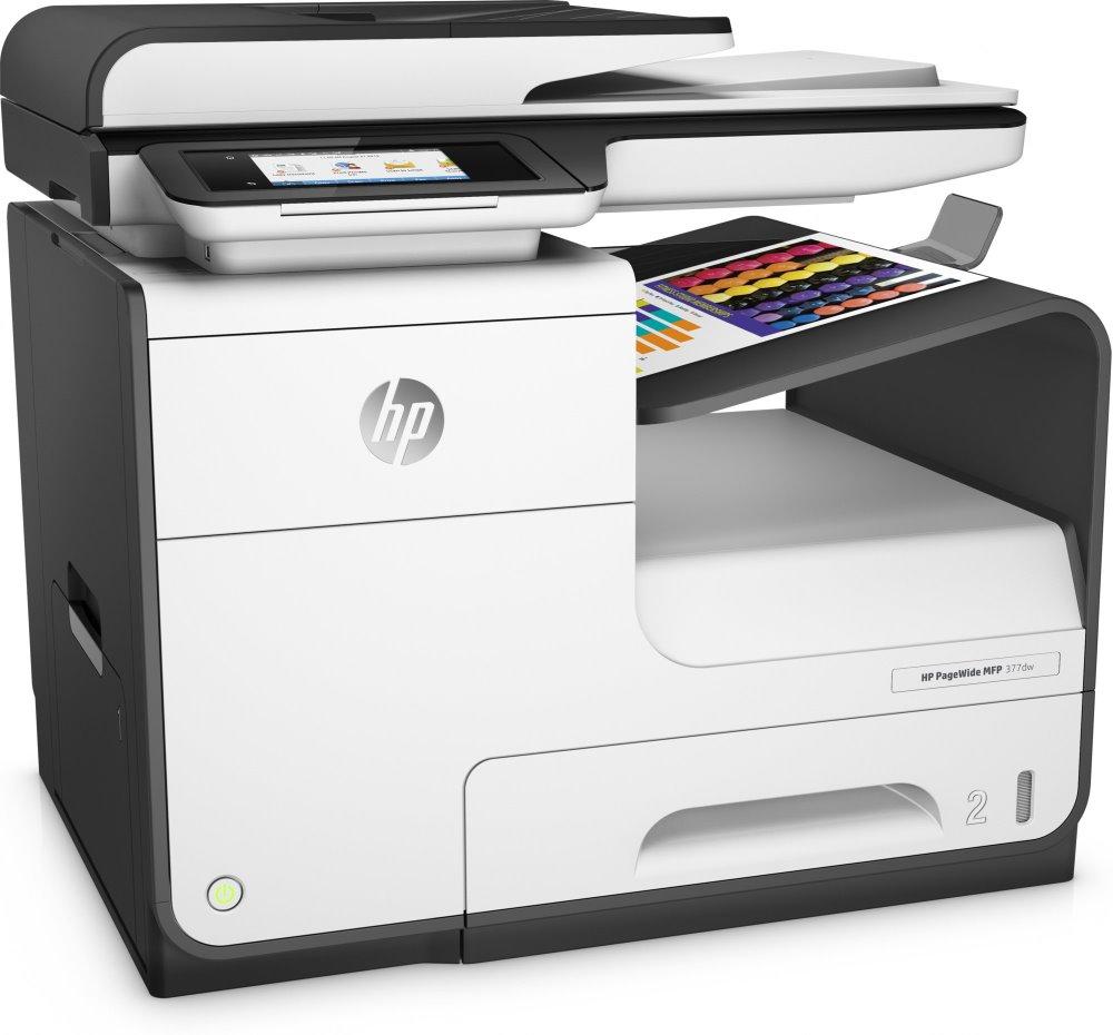 Multifunkční tiskárna HP PageWide 377dw Barevná multifunkční inkoustová tiskárna, A4, 30 ppm, print+scan+copy+fax, 1200x1200, LCD, USB, LAN, Wi-Fi, ADF, Duplex, černobílá J9V80B