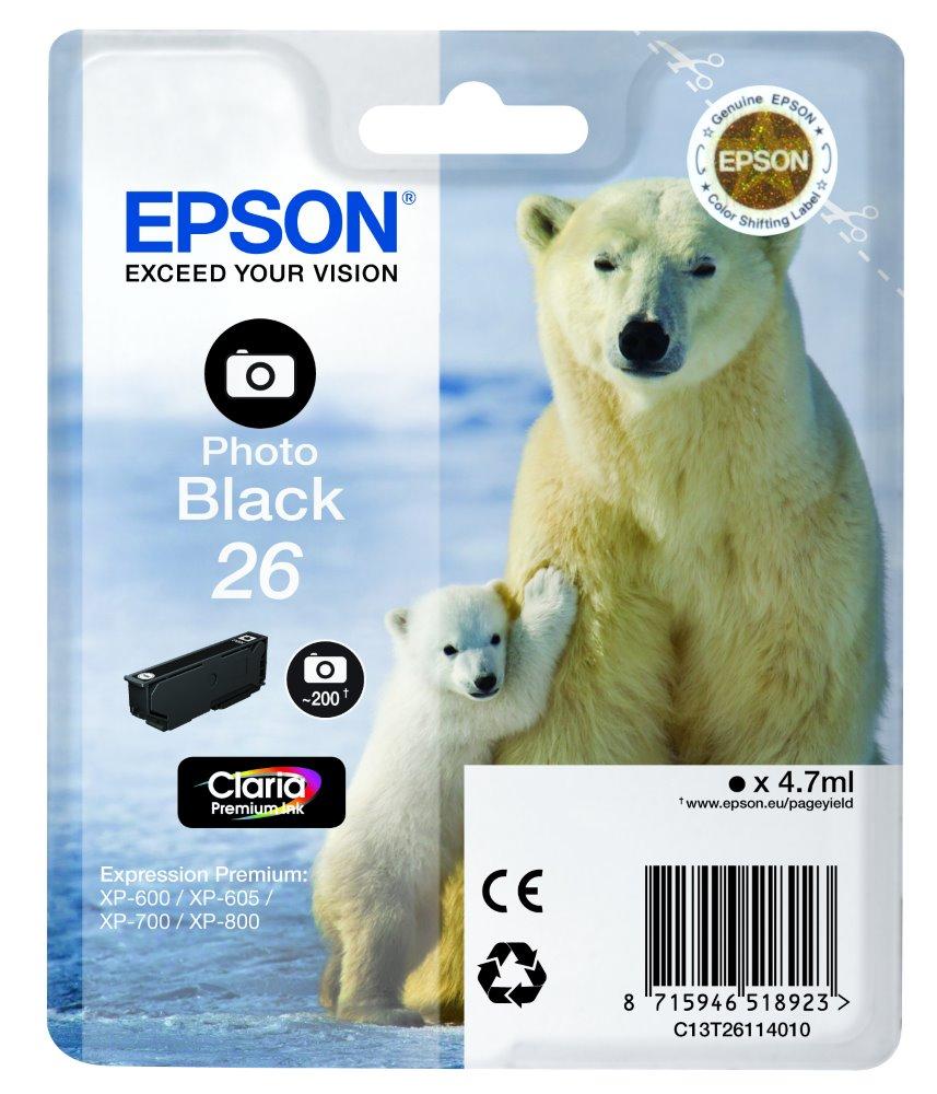 Inkoustová náplň EPSON C13T26114010 Inkoustová náplň, 4,7 ml, vhodná pro EPSON XP-600, XP-605, XP-700, XP-800, foto černá C13T26114010