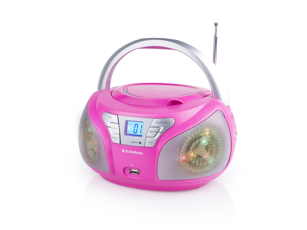 Rádio TOPCOM AudioSonic CD-1560 Rádio, stereo, Disco LED světla, CD, USB, FM tuner, LED displej, růžové CD-1560