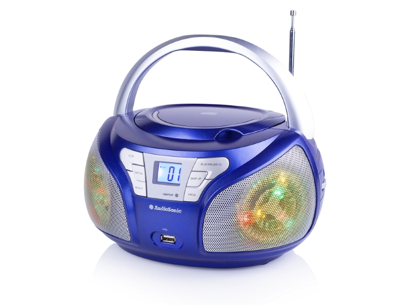 Rádio TOPCOM AudioSonic CD-1561 Rádio, stereo, Disco LED světla, CD, USB, FM tuner, LED displej, modré CD-1561
