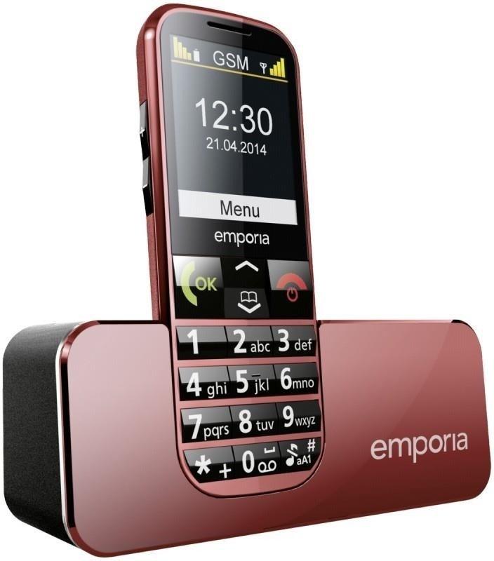 Mobilní telefon Emporia ECO červený Mobilní telefon, pro seniory, 2,2, TFT, 0,2 Mpx, vestavěná svítilna, červený TELEMECORE