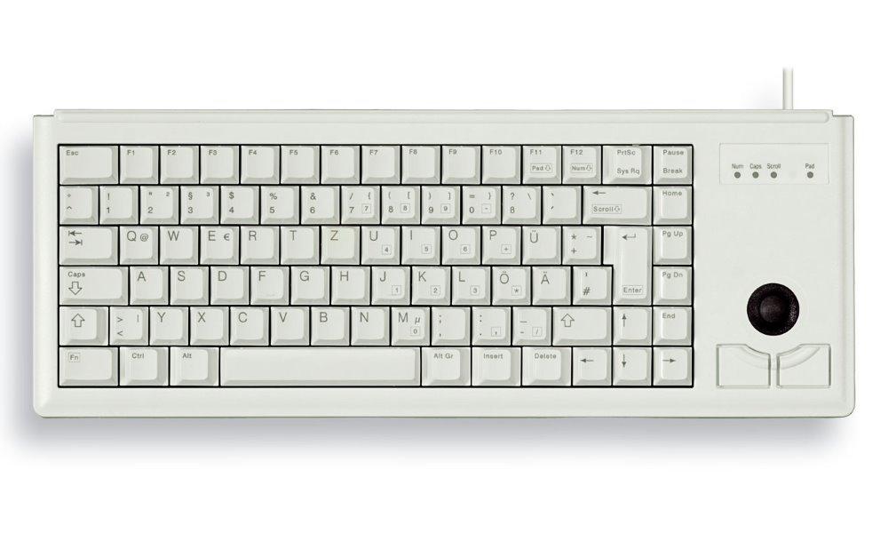 Klávesnice CHERRY G84-4400 bílá Klávesnice, s trackballem, drátová, USB, ultralehká, malá, bílá, EU layout G84-4400LUBEU-0