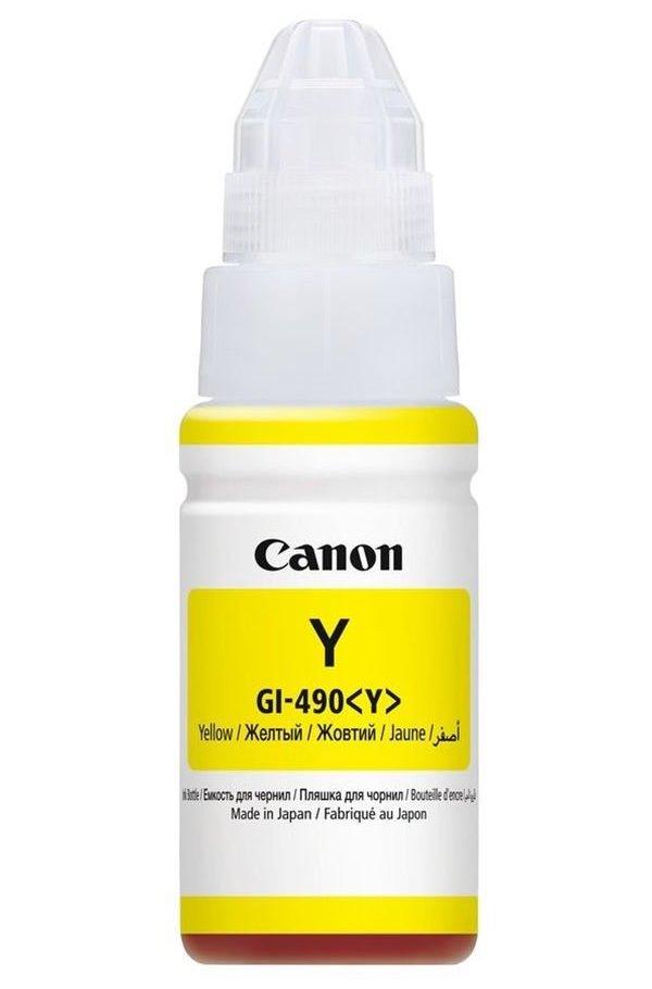 Inkoustová náplň Canon GI-490Y Inkoustová náplň, pro tiskárny Canon PIXMA G1400, 2400, 3400, žlutá, 70 ml 0666C001