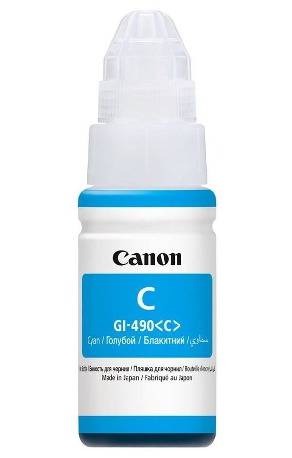 Inkoustová náplň Canon GI-490C Inkoustová náplň, pro tiskárny Canon PIXMA G1400, 2400, 3400, modrá, 70 ml 0664C001